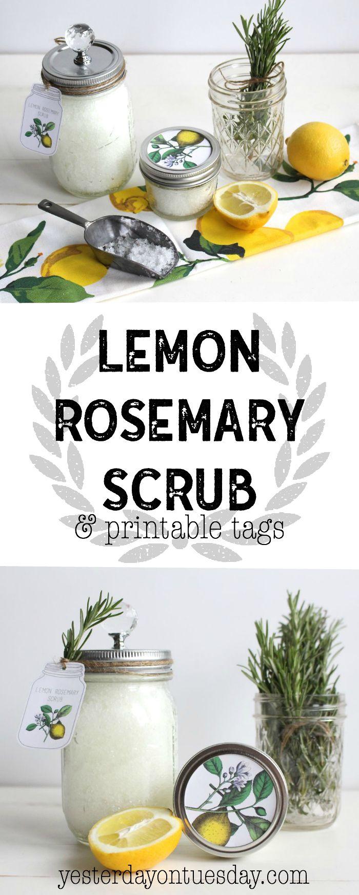 Lemon Rosemary Scrub and Printable Tags