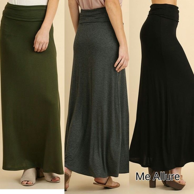 Umgee Long Fold Over Waist Basic Casual Maxi Skirt S M L