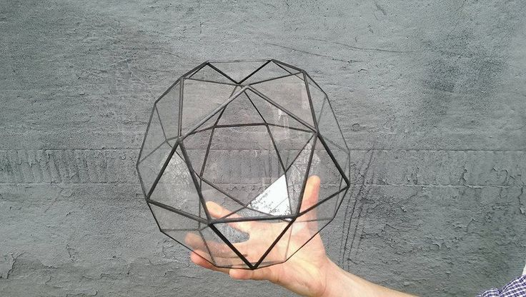 Large terrarium icosidodecahedron Stained glass terrarium Glass decoration Planter for indoor gardening Home decor (82.00 USD) by Leosklo