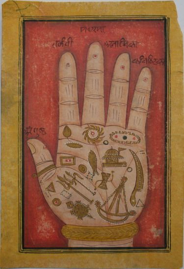 www.IndianMiniaturePaintings.co.uk - Indian miniature painting: Tantric folio relating to palmistry. Rajasthan, probably Mewar, circa 1820-40. Opaque watercolour with gold on wasli. 15.2 x 10.2cm