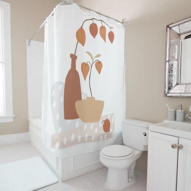 Autumn Terracotta Still Life Shower Curtain Zazzle Com White