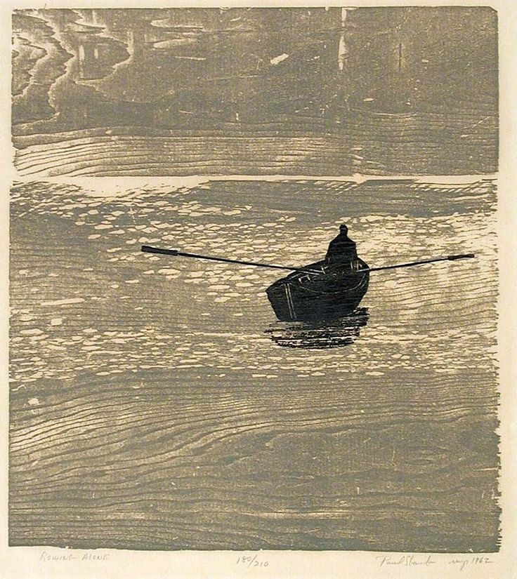 Rowing Alone | Paul Shaube, woodcut (example of a print that would work nicely by cutting multiple blocks)