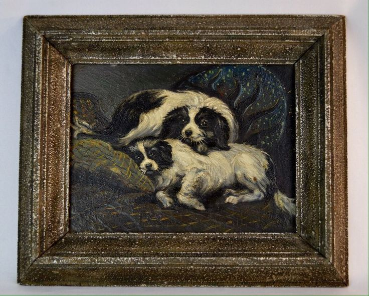 This is a Beautiful Antique Victorian Oil Painting Of Two ...