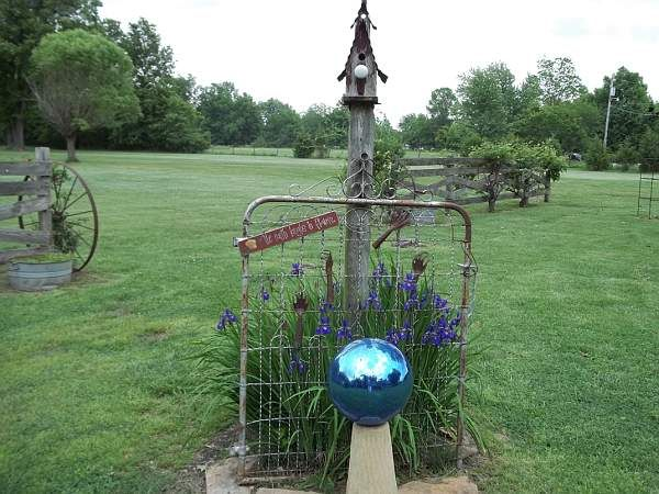1 debbies old gate and blue gazing ball