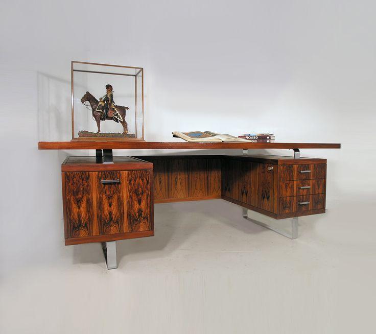 Jorgen Pedersen rosewood and chrome desk