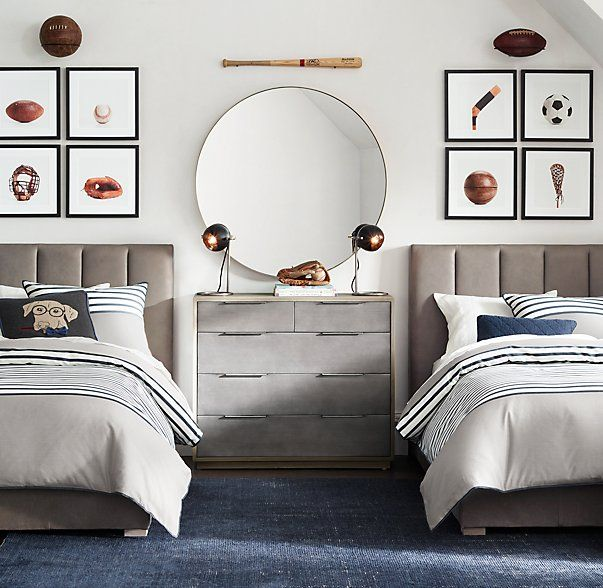 A streamlined and sporty boy's room.
