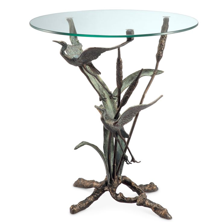 Crane Pair In Flight Accent End Table Coastal Heron Birds Sculpture ~ SPI  Home In Tables