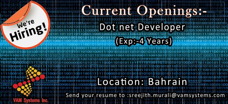 Wanted 1 Dot net Developer Location Bahrain Experience Required - net developer resume