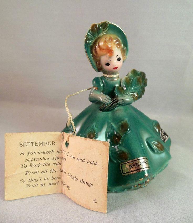Josef Originals Figurine SEPTEMBER Birthday Autumn Girl w/ Hang Tag + Labels #JosefOriginals