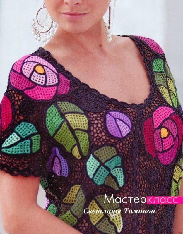 crochelinhasagulhas: Vestido colorido de crochê irlandês