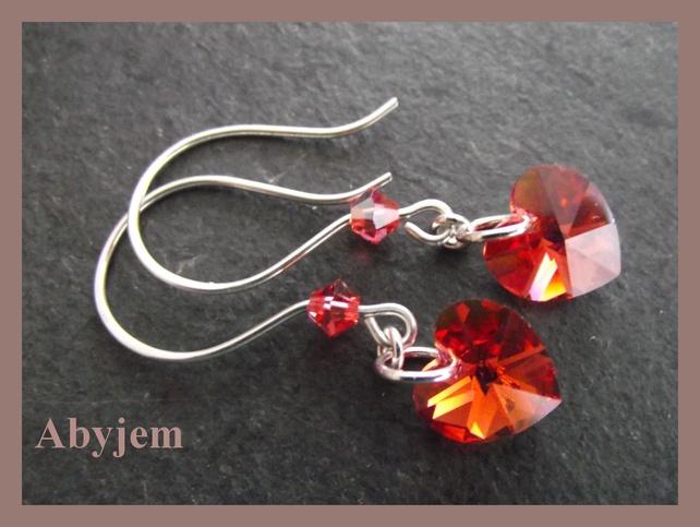 Valentine's Day - Red Swarovski Crystal heart Earrings & sterling silver £12.00