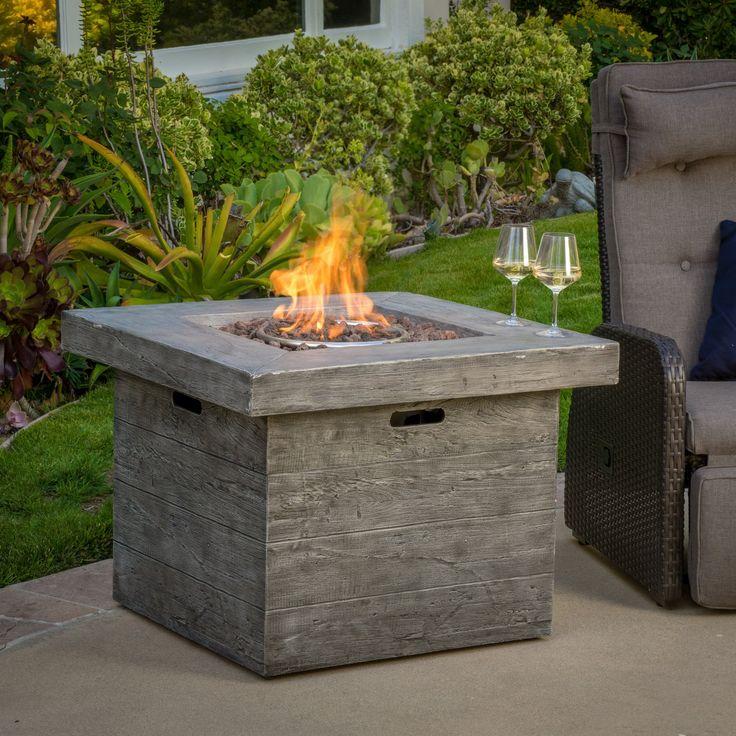 Vermont Outdoor 32-inch Square Liquid Propane Fire Pit with Lava Rocks