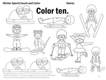 Number Words Worksheets, Winter Sports Theme, Kindergarten