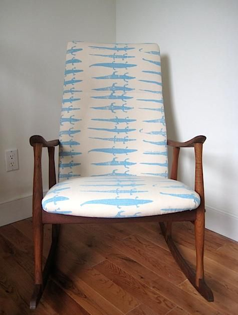 Midcentury modern rocking chair reupholstered in alligator print fabric by Virginia Johnson.