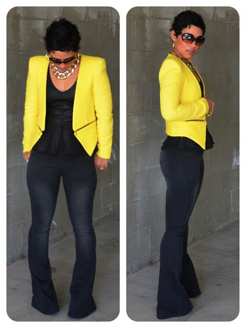 OOTD: Leather   Denim   Yellow Pop