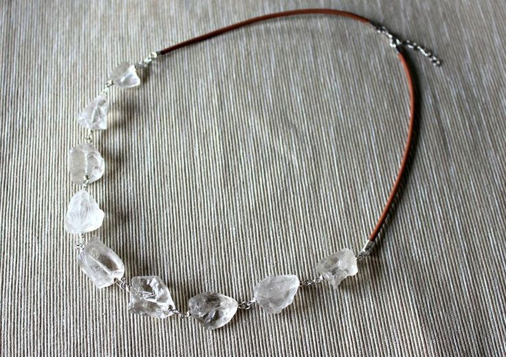 Necklace with rock crystal and leather strap from Especially for You. Available on http://en.dawanda.com/shop/Especially-4-You  facebook.com/especiallyfryou