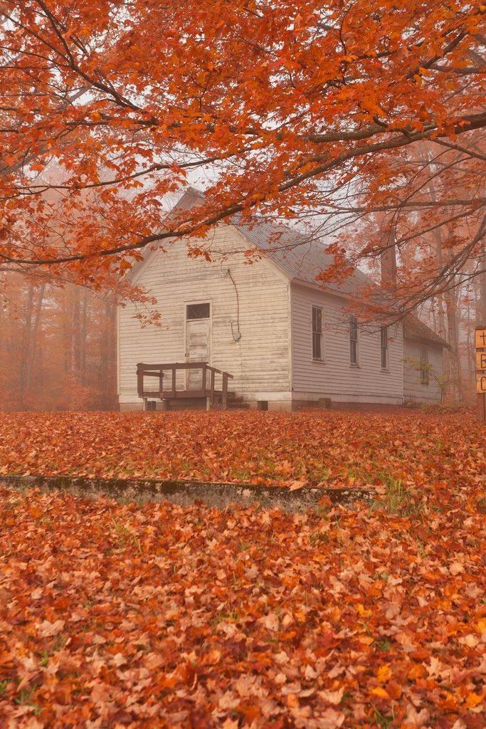 Country Church, Old Schools, Old Buildings, Fall Leaves, New England, Autumn Leaves, Favorite Seasons, Old Church, House