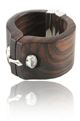 Bracelet | Kara Ross. 'Shirt Cuff'. Sterling silver, ebony and faceted gemstone.