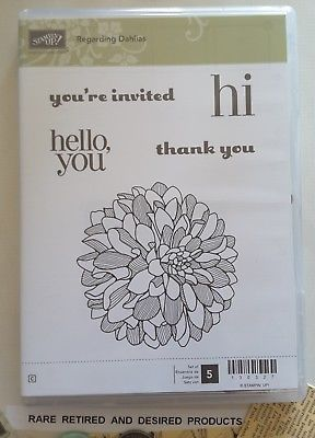 REGARDING-DAHLIA-Stampin-039-Up-5-Clearmount-Rubber-Stamps-Retired-Rare