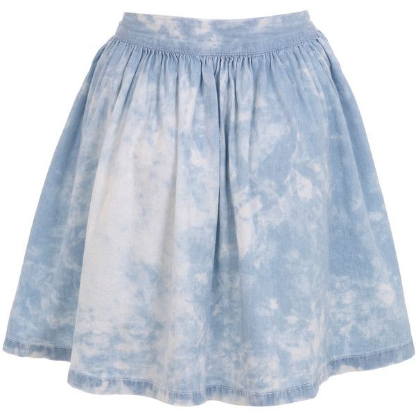 Miss Selfridge Cloud Print Skater Skirt (€24) ❤ liked on Polyvore featuring skirts, mini skirts, bottoms, faldas, saias, light wash denim, blue mini skirt, blue flared skirt, skater skirt and miss selfridge