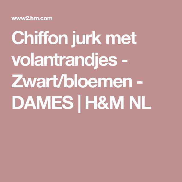 Chiffon jurk met volantrandjes - Zwart/bloemen - DAMES | H&M NL