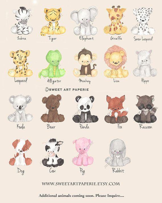 Baby Animal Prints, Safari Nursery Art – Watercolor – Nursery Decor- Set of 4 – PRINTS – Zoo Animals, Wall art, Baby Animals, nursery Decor