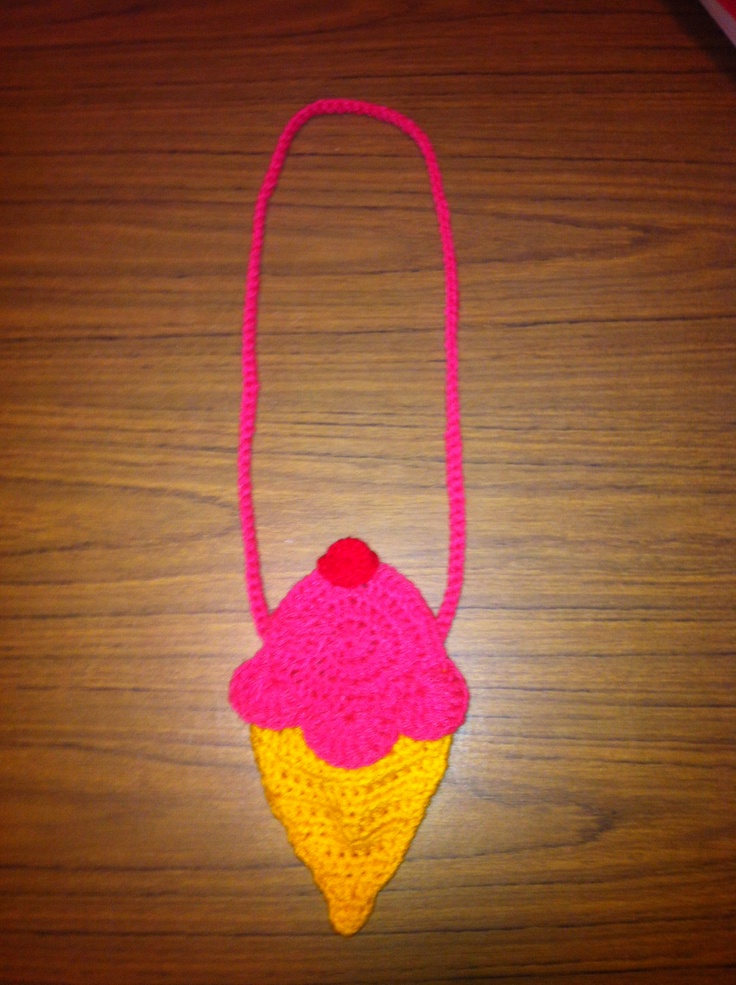 Ice Cream cone crochet purse. Pattern was from a blog but ...