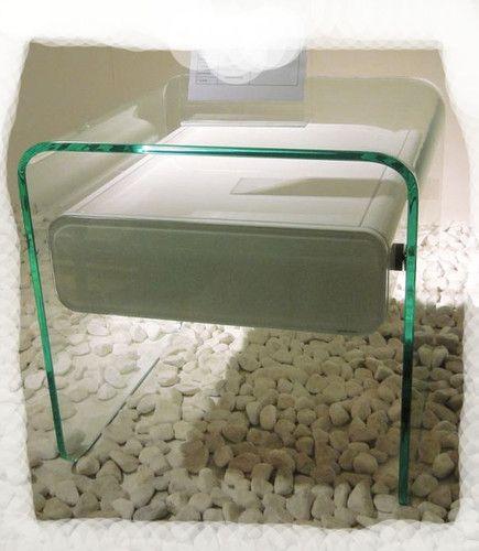 $419 ebay Sara HI Gloss White 500x500 Tempered Glass 1 Drawer Side Table Brand NEW | eBay