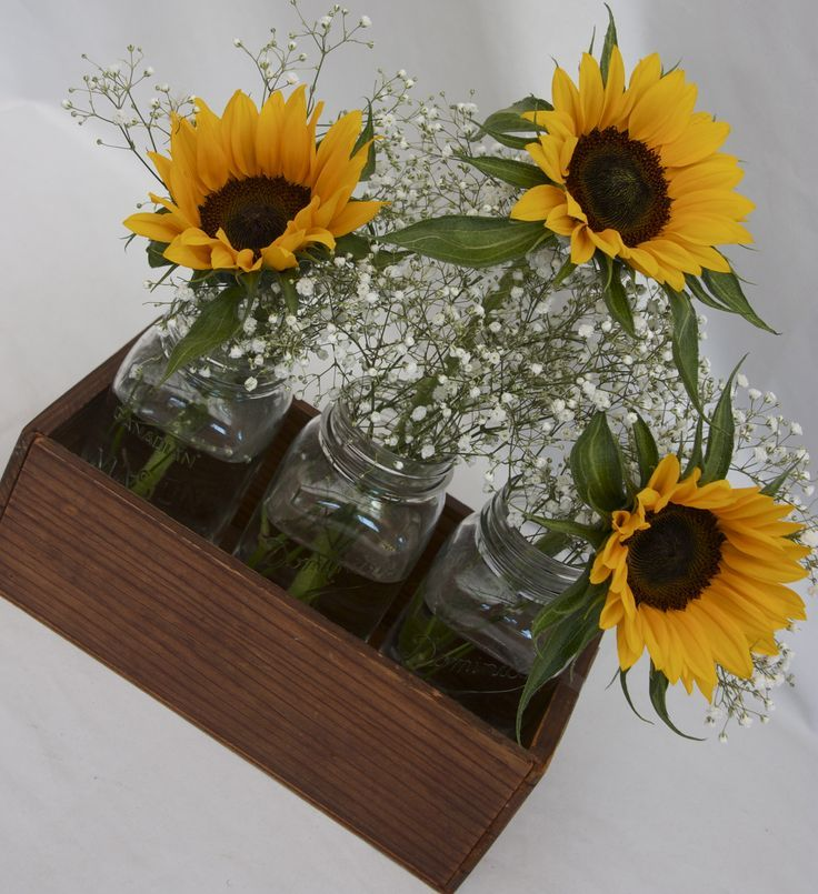 Sunflower  babies breath   Simple Sunflowers and Baby's breath in a crate   Centerpieces