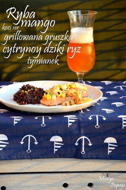 MangoPapaja: Grillowany łosoś z mango, gruszką i kozim serem oraz cytrynowo-tymiankowy ryż podane z piwem typu Weissbier