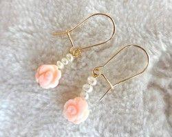 The Rose Garden / Queen Conch Shell × 淡水パール×14kgf キドニーフックピアス