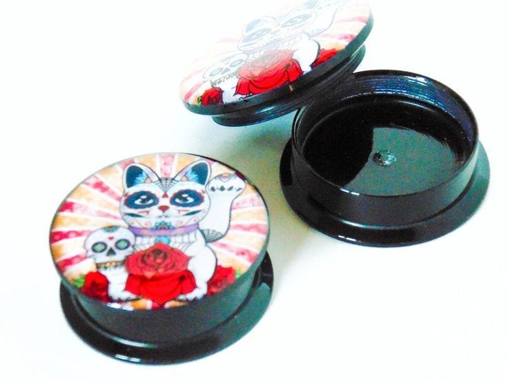 Flesh Tunnel Stretcher Plug Sugar Skull Lucky Cat Rose Stripes Acrylic Screw UK in Jewellery & Watches, Body Jewellery, Other Body Jewellery | eBay
