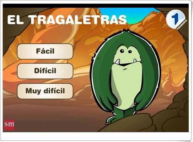 """""""El tragaletras"""" es un juego en el que se plantean actividades sobre ortografía y vocabulario desde niveles muy fáciles hasta otras más dificultosas por lo que se puede jugar de 1º a 3º nivel de Educación Primaria."""