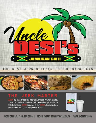 Enjoy the best Jamaican food in the Carolinas! Uncle Desi's Jamaican grill has arrived with a new location in Winston Salem! Receive a $10 value for only $5! Limited time only! http://www.journaldealsnow.com/engine/Splash.aspx?contestid=79828