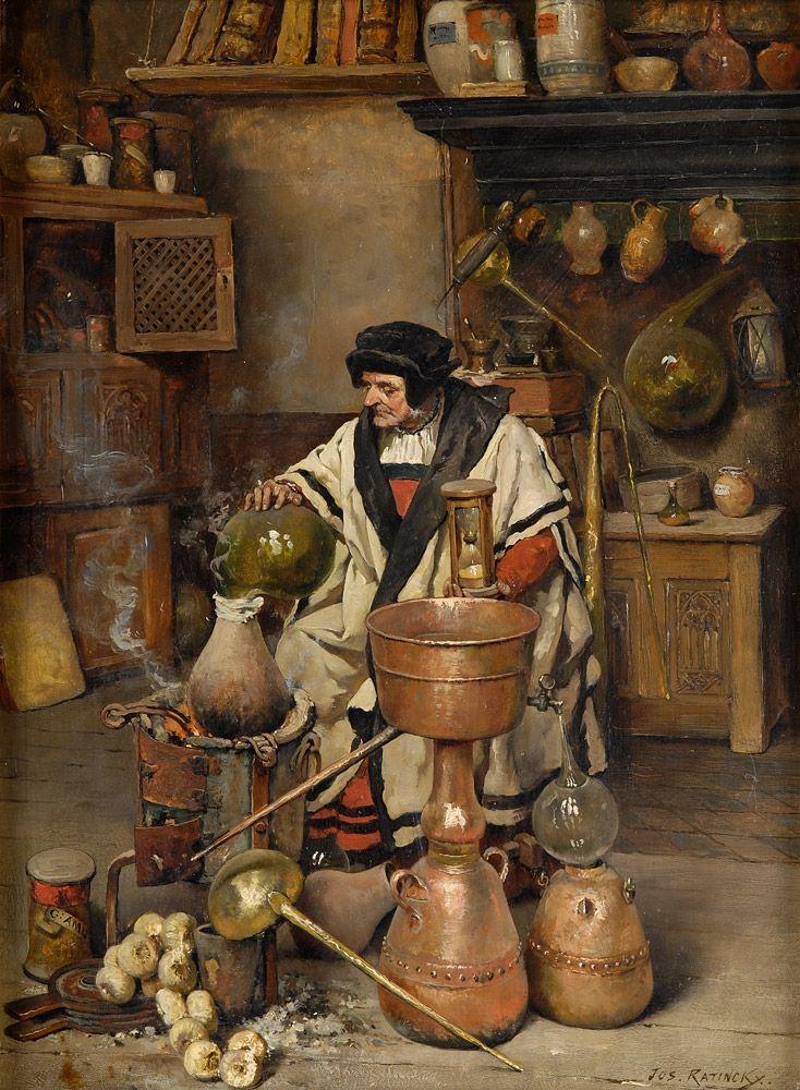 """The Alchemist"" - Joseph Leopold Ratinckx - 1860/1937"