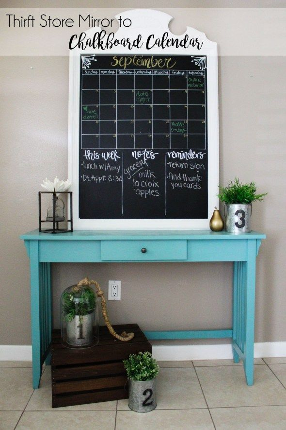 Take a thrift store mirror and transform it into a chalkboard calendar for your family to use and love thanks to this tutorial by @withinthegrove. It's a great way to stay organized! http://spr.ly/64918BP4T