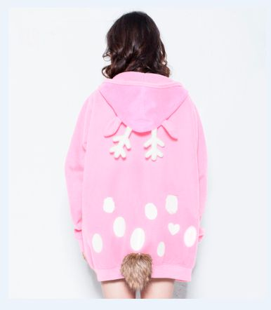 Japanese kawaii cartoon elk hooded fleece coat
