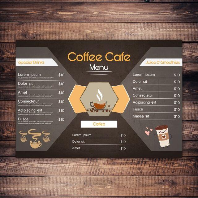 منيو قهوة تصميم بطاقة Menu Card Design Menu Cards Cafe Menu