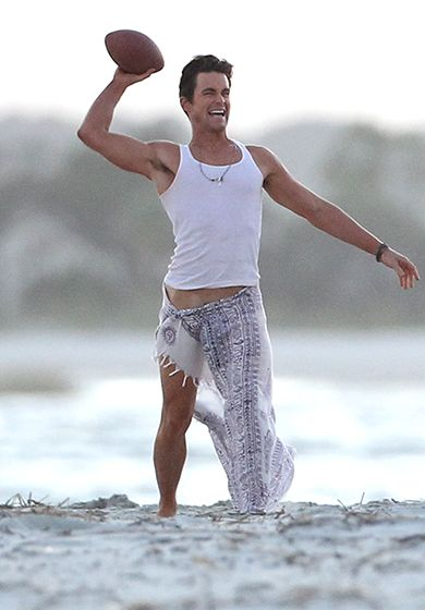 Even in a sarong, Matt Bomer looked like a true hunk while playing football on the beach in Tybee Island, Georgia, with costar Manganiello. Read more: http://www.usmagazine.com/entertainment/pictures/magic-mike-xxl-behind-the-scenes-shots-of-the-men-and-more-2014210/41406#ixzz3KslEl7N8 Follow us: @usweekly on Twitter | usweekly on Facebook
