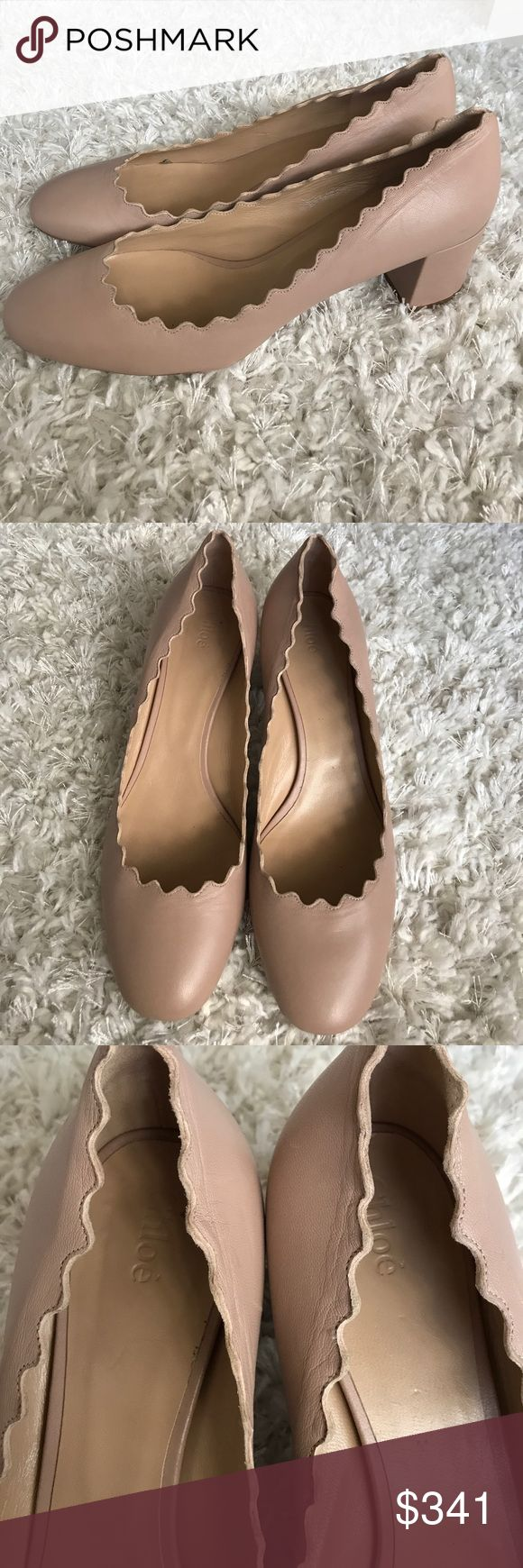 Chloe Lauren Scalloped Nude Pump Perfect for the working woman or pair great with jeans and a button up, these have been used as shown, have scuffs in soles and outer soles and leather is worn, I do not have the dustbag or box, size 41, run small and fit like size 11 Chloe Shoes Heels