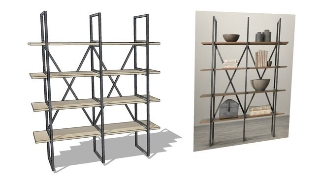 RH Home Office Bookcase - 3D Warehouse