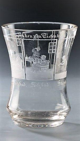 Lázeňský pohárek – Potočná, 1840. Zobrazení vodoléčebných procedur s německými texty
