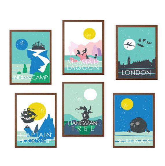 PETER PAN  Ensemble de Six voyages affiche : par MayAndBazStore