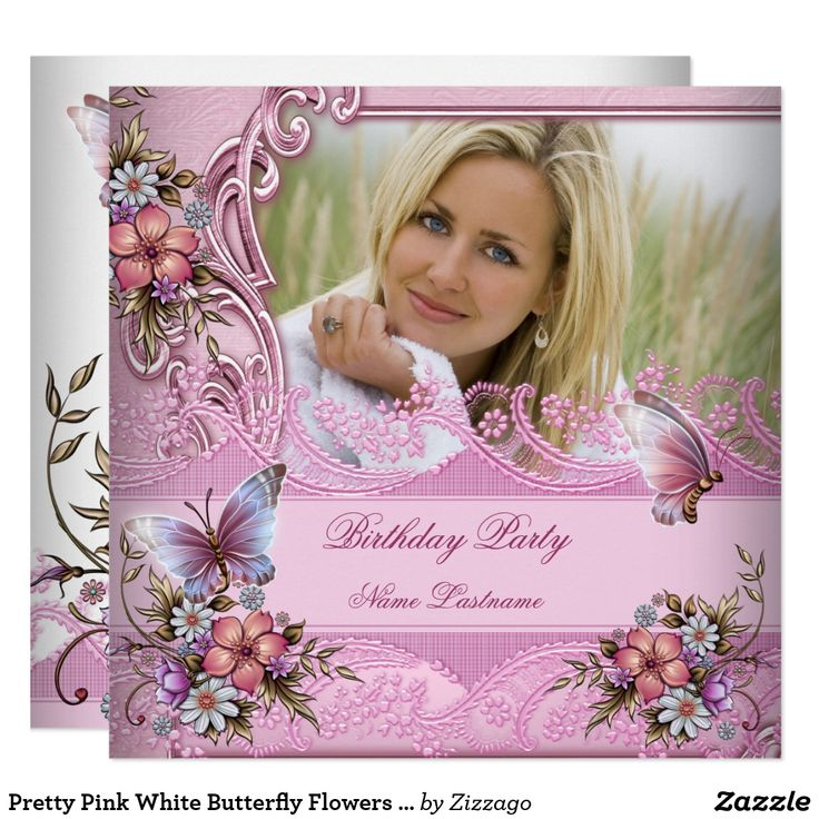Pretty Pink White Butterfly Flowers Birthday Party Card