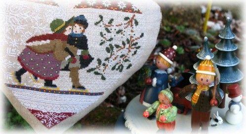 """Une nouvelle création """"AMAP"""" idéale pour vous souhaiter une très, très bonne année 2010 , pleine de petits bonheurs et de nombreux petits points : """" Un Coeur en hiver """" Fils DMC; broderie 2 sur 1 sur du lin Gander 19 fils naturel Bonne journée ...."""