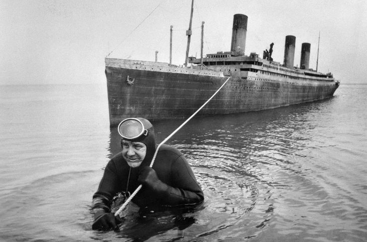 Original caption: Professional frogman Courtney Brown tows a 55-foot scale model of the sunken liner <i>Titanic</i> during work on the film <i>Raise the Titanic!</i> (released in 1980.) The screen version of the best-selling novel by Clive Cussler dramatizes an attempt to raise the 46,000-ton wreck of the Titanic,which is 2 1/2 miles down on the floor of the North Atlantic.
