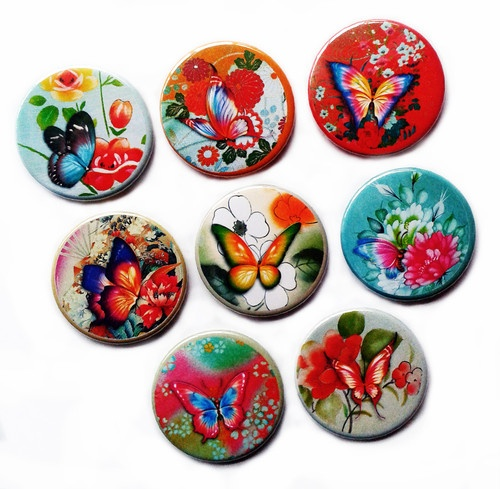 Set of 8 Style Vintage Flowers and Butterfly Fridge Magnets, Gift, Shabby Chic