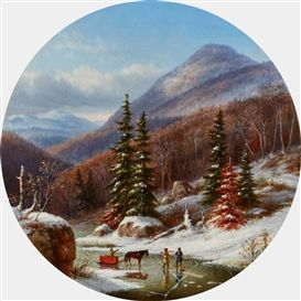Artwork by Cornelius Krieghoff, STREAM ON NORTH SHORE BELOW QUEBEC, Made of Oil on canvas