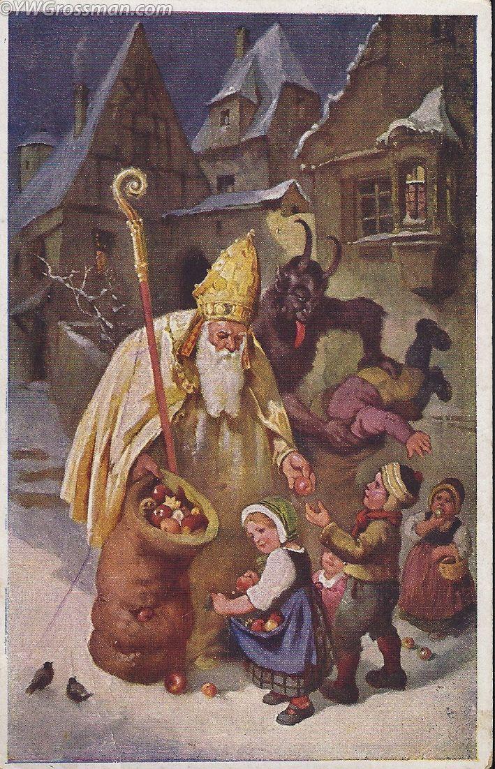 Vintage Christmas Postcard - Krampus and Saint Nick. Good kids bad kids.