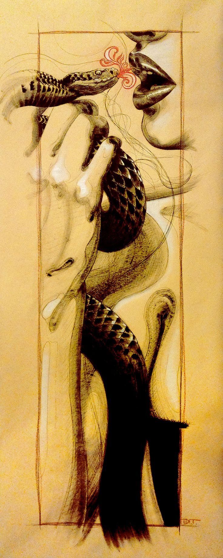#snake #kiss #woman #lips #sin #originalsin #art #illustration #ink #inkonpaper #dit #diegotoscani #santamargheritaartist